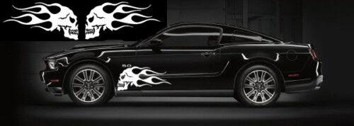 "Universal flaming skull car side decal set 11/""x22/"""