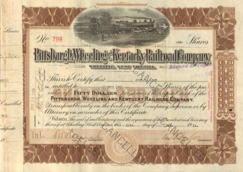 Pittsburgh Wheeling and Kentucky Railroad /> West Virginia stock certificate