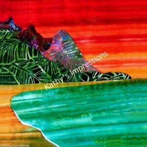 Details About Hawaiian Beach Sunset Fabric Quilt Square Bali Hai Kauai Orange Sky Mountains