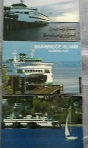 WASHINGTON-STATE-FERRIES-POSTCARDS-Bainbridge-Island-WASHINGTON-LOT-3-PHOTO-CARD