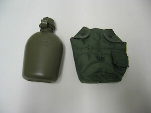 NEW-US-ARMY-CANTEEN-WITH-M1-CAP-amp-CANTEEN-POUCH-WITH-ALICE-CLIPS