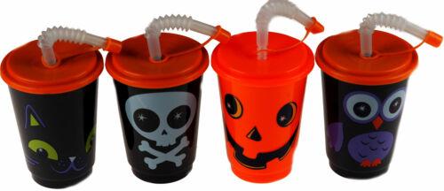 Cat Set Of 4 Children/'s Halloween Cups With Lid And Straw Skull Pumpkin Owl
