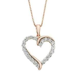 1-10-Ct-T-W-Diamond-Heart-Pendant-Necklace-in-sterling-silver-Rose-Gold-plated