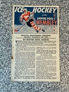 Wembley Empire Pool - Wembley Lions - Ice Hockey Programme 03/12/1955