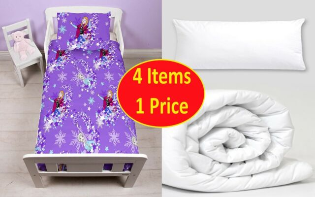 4 in 1 DISNEY FROZEN TRANSPARENT JUNIOR BEDDING BUNDLE FOR COT TODDLER BED GIRLS