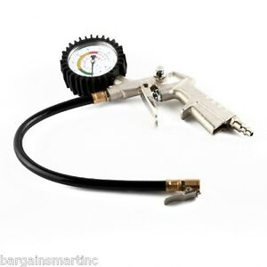 220-psi-Lock-On-Tire-Inflator-Air-Pressure-Gauge-Hose-Truck-Car-Motorcycle-Bike