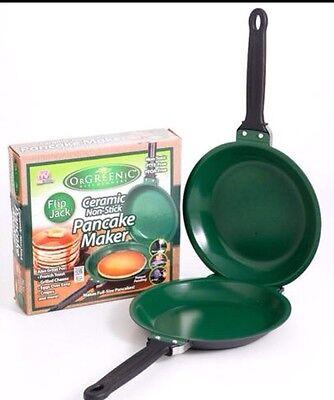 OrGREENiC Flip Jack Ceramic Green Non-Stick Cookware Pan Eco Safe As Seen on TV