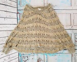 Arden-B-Poncho-Sweater-Women-039-s-Sz-XS-S-Long-Sleeve-Tan-Knit-Acrylic-Nylon