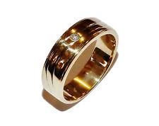 Fully Hallmarked 9ct Yellow Gold & Diamond Fancy Band - UK Size T