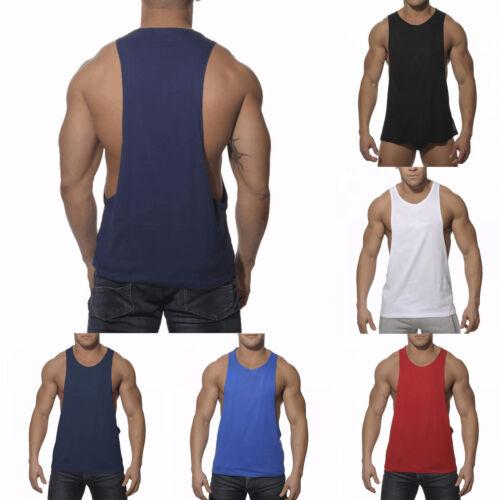 Men/'s Skinny Gym Sports Vest  Tank Top Slim Fit Stringer Plain Sleeveless Shirts