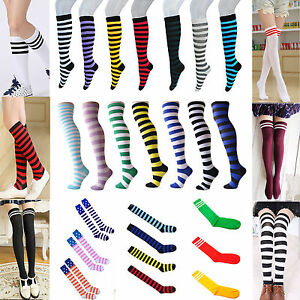Women High Striped Over Knee Long Socks Stocking Stripe Tube Soccer Football HIG