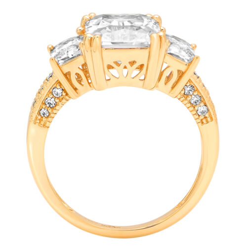 4.45ct 3Stone Princess Cut Promise Engagement Wedding Ring Real 14k Yellow Gold