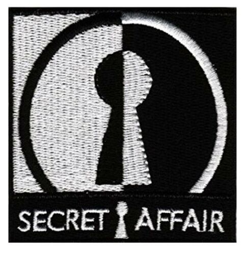 Secret Affair Black /& White Patch Badge Iron Or Sew On 7cm x 7cm
