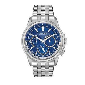 Citizen Eco-Drive Men's Calendrier World Time Blue Dial 44mm Watch BU2021-51L