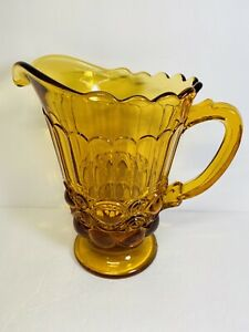 Vintage-Indiana-Amber-Glass-Pitcher-with-Scalloped-Edge-Top