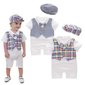 Baby Boy Christening Wedding White Tuxedo Suit Outfit Romper Clothes ... a9e16ce946ca