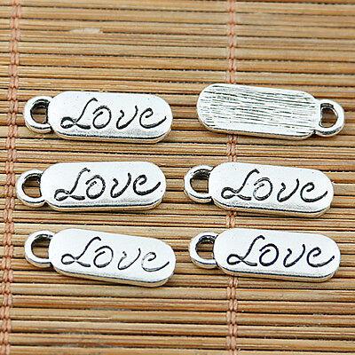 20pcs Tibetan silver word love oval charms EF1897