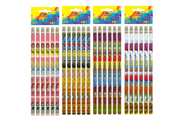 Childrens Character Pencils With Erasers Themed Birthday Party Loot Bags Favour
