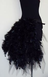 Short White Black Feather Bustle Burlesque Carnival dancer 6-32 Costume Bustle