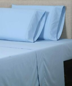 Image Is Loading 400tc Egyptian Cotton Sheet Set Percale Sky Blue