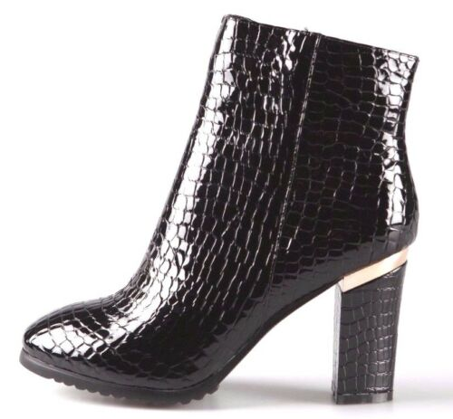 Women Black 100/% Real Leather Snakeskin Look Block Heeled Zipped Ankle Boots