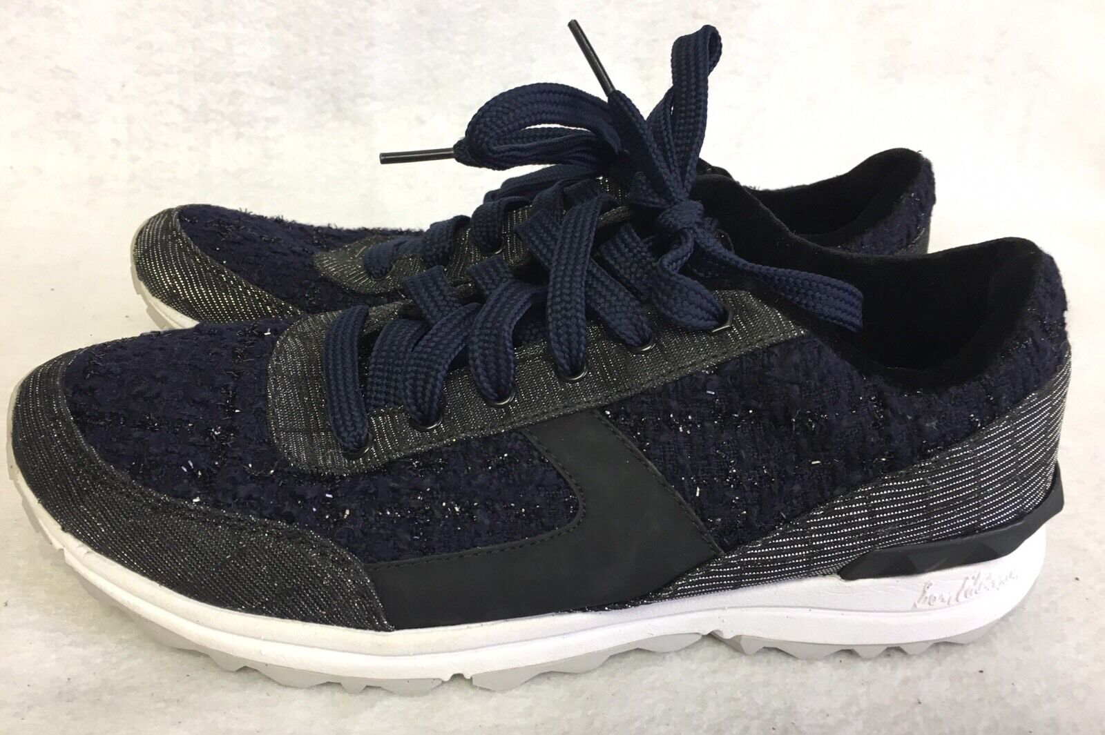 Sam Edelman Dax Negro Negro Negro Azul Brillo Tela Moda Tenis Entrenadores  160  Hay más marcas de productos de alta calidad.