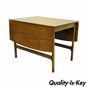 Image Is Loading Vintage Mid Century Modern Walnut Drop Leaf Dining