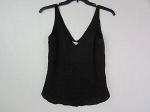 1b36d14af3 Milly Stretch-Silk V Neck Tank Top Black MSRP $200 Size 2 ...