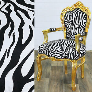 Zu Animal Design ChairGold Details White Zebra Finish Barock Blackamp; Print Stuhl m8nNw0v