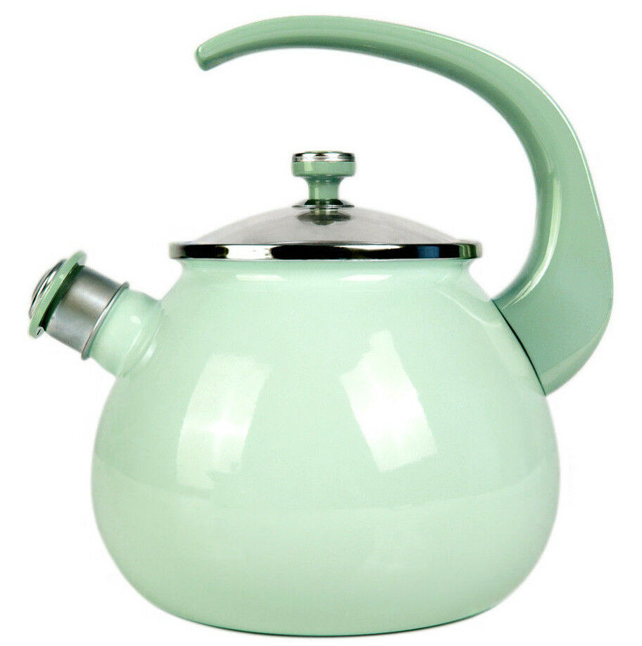 Mint Green Enamel Kettle Teapot High Quality made in Ukraine Whistle Safe Handle