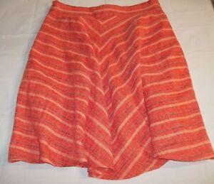 Anthropologie-Harlyn-Wos-Skirt-Orange-Black-Stripe-A-line-lined-30-034-pocket-1290B