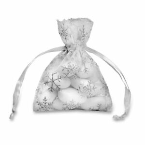 White & Silver Christmas Snowflake Organza Candy Bags Winter Wonderland Wedding
