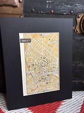 City Map Rochester New York 1958 Mid Century Black Matted 8x10 Art Print travel