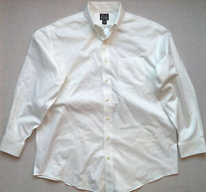 Clothing, Shoes & Accessories Jos A Bank White Button Front Long Sleeves Casual Shirt Sz 16.5-34 Ff9479