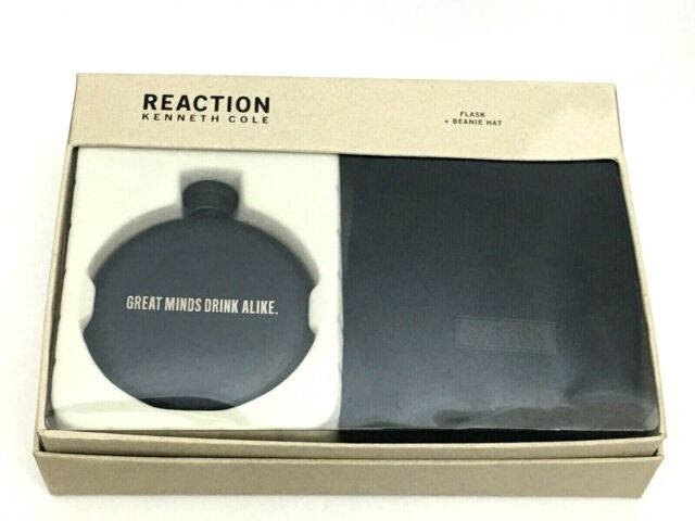 Kenneth Cole Reaction Men/'s Flask and Beanie Gift Set Black 41KC370001 for sale online