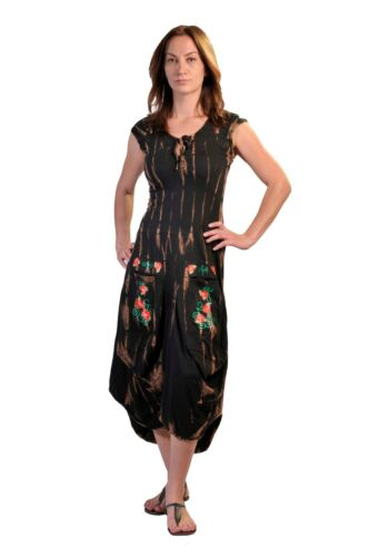 TATTOPANI WOMEN CAP SLEEVED CALF LENGTH DRESS WITH FLOWER EMBROIDERY ON POCKETS