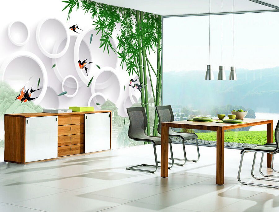 3D Bamboo Ring 83 Wallpaper Mural Paper Wall Print Wallpaper Murals UK