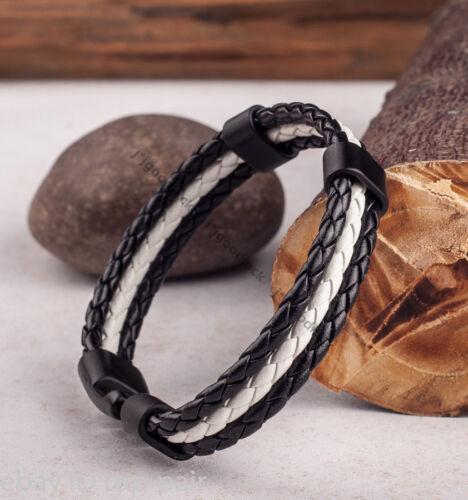 Negro Blanco para Hombre Mujer 4mm Cuerda Trenzado surfista Imitación Cuero Pulsera Negro Broche