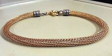 """Gold tone Metal Braided Chain Choker Necklace woven flexible links 17"""" - 20"""""""