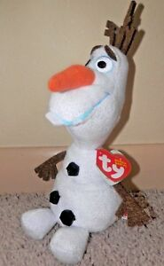 Image is loading Ty-beanie-babies-Frozen-Olaf-Snowman-Medium-8- 0280929aaa4b