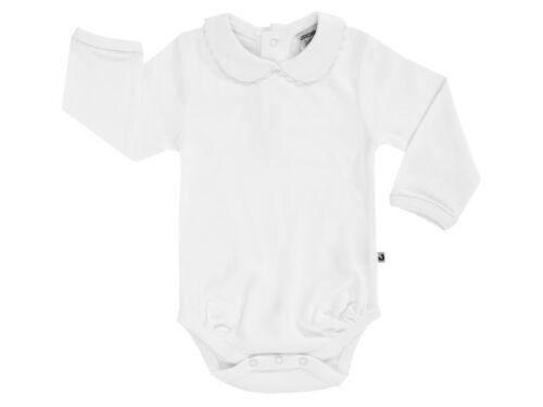 Jacky Baby Mädchen festlicher Langarmbody mit Kragen weiß Taufkleidung Festmode