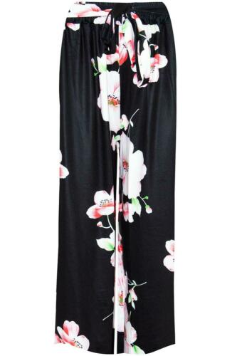 Womens Ladies Floral Belted Trouser Wide Leg Baggy 3//4 Flared Leggings Palazzo