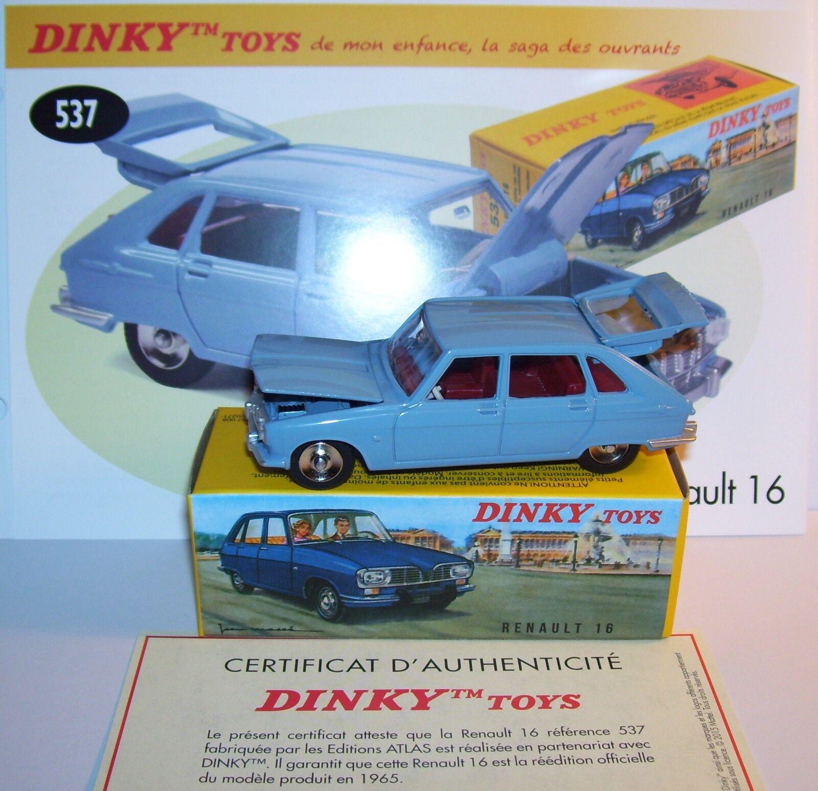 Dinky Toys Atlas Renault 16 Sky blueee Ref 537 Boot & Hood Openable 1 43 Box