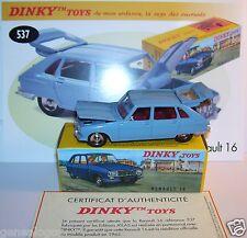 DINKY TOYS ATLAS RENAULT 16 BLEU CIEL REF 537 COFFRE & CAPOT OUVRANTS 1/43 BOX