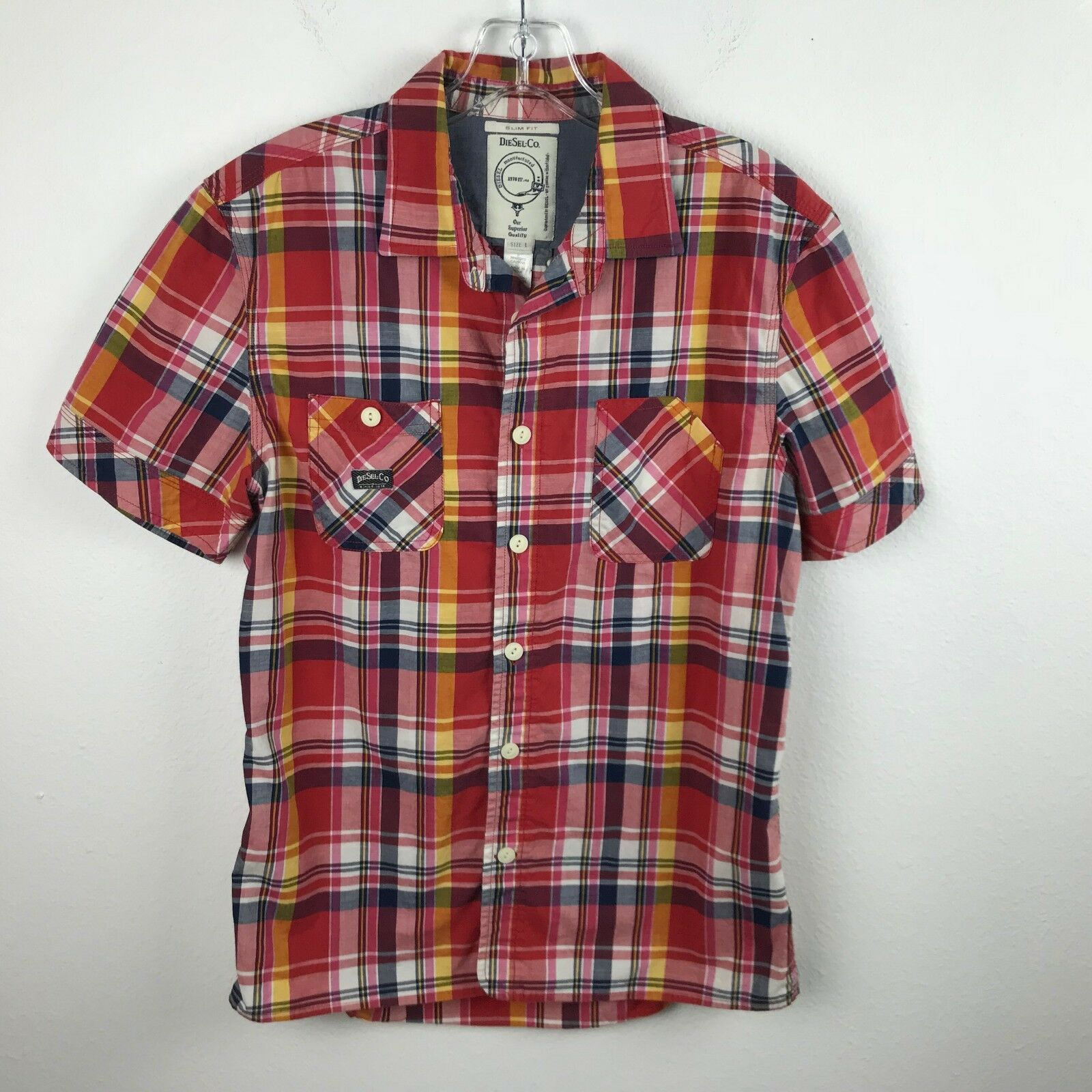 Mens Diesel Co Shirt Slim Fit Size L Red bluee Plaid Short Sleeve Button Front