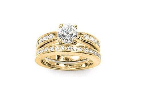 96c03ae0342 Bague T58 2 en 1 Alliance Alliance Alliance Solitaire Diamant Cz Plaqué Or  18K de Dolly-Bijoux b2a2ab