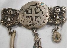 Atq 1600's Spanish Colonial Coin Bird Fruit Aztec Mask Trade SILVER Brooch Pin