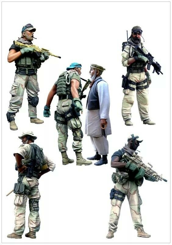 1 35 Modern US Special Forces and Local Man Resin Model Kit (6 Figures)