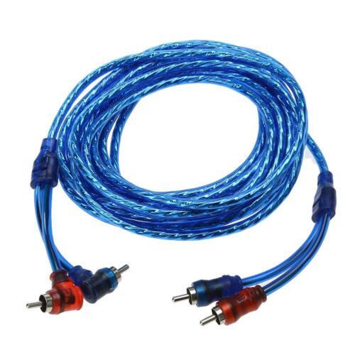5m Blau 2 RCA to 2 RCA Cinch Kabel Audio Verstärker Endstufe Adapter Stecker