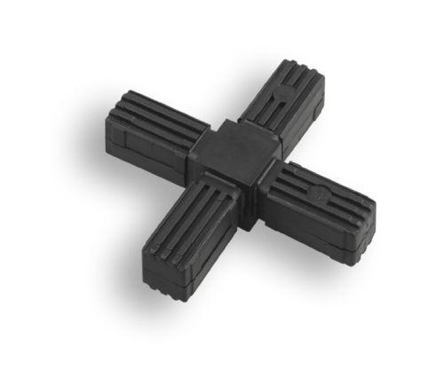 croix 1 Connecteurs pour quadratrohr plastique//polyamide noir